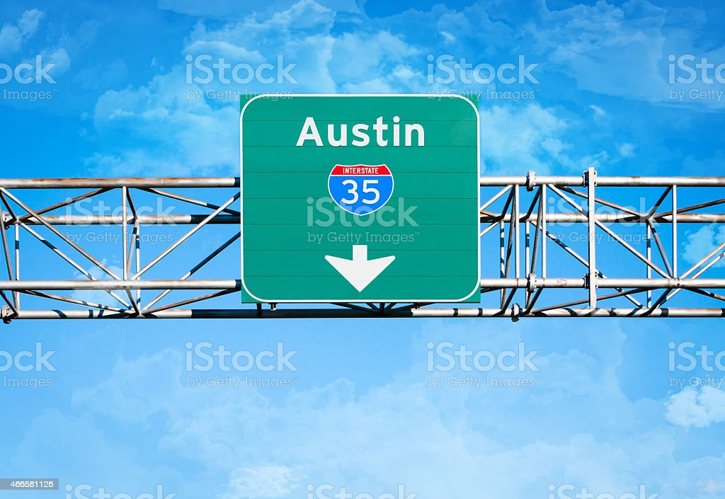 Austin Interstate 35 Sign stock photo
