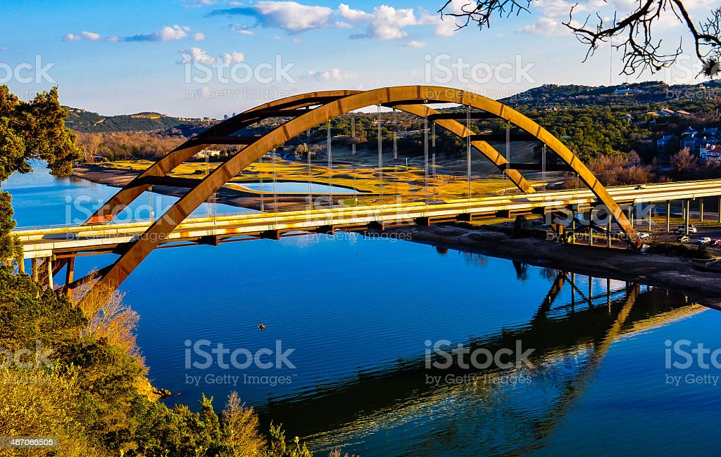 Austin Lake Pennybacker Bridge Reflections Rustic Perfection stock photo
