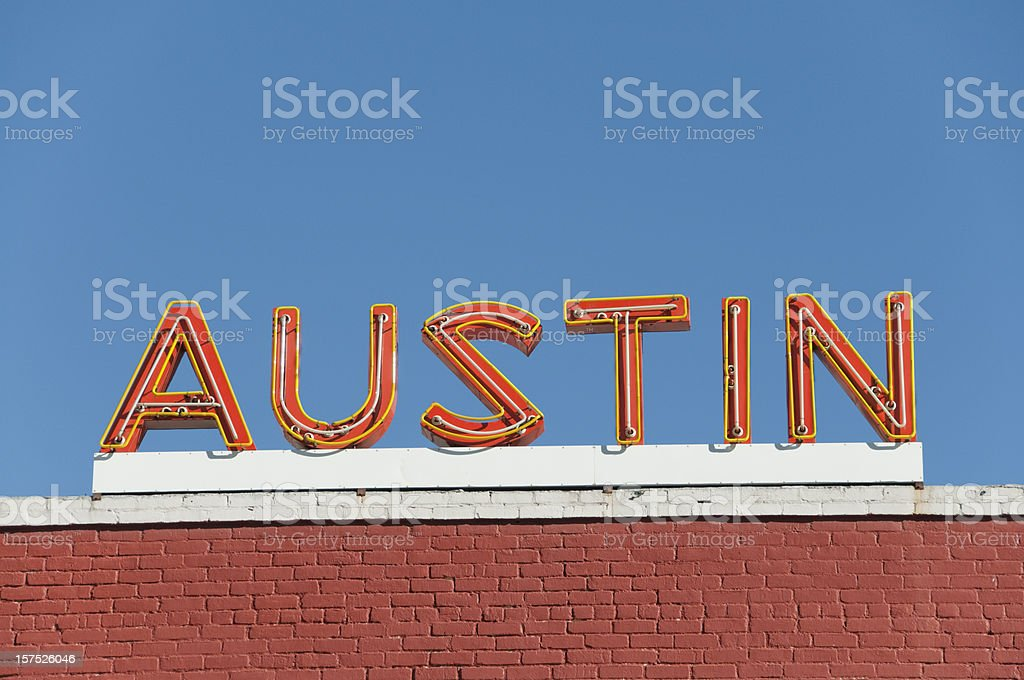 Austin Orange Neon Sign stock photo