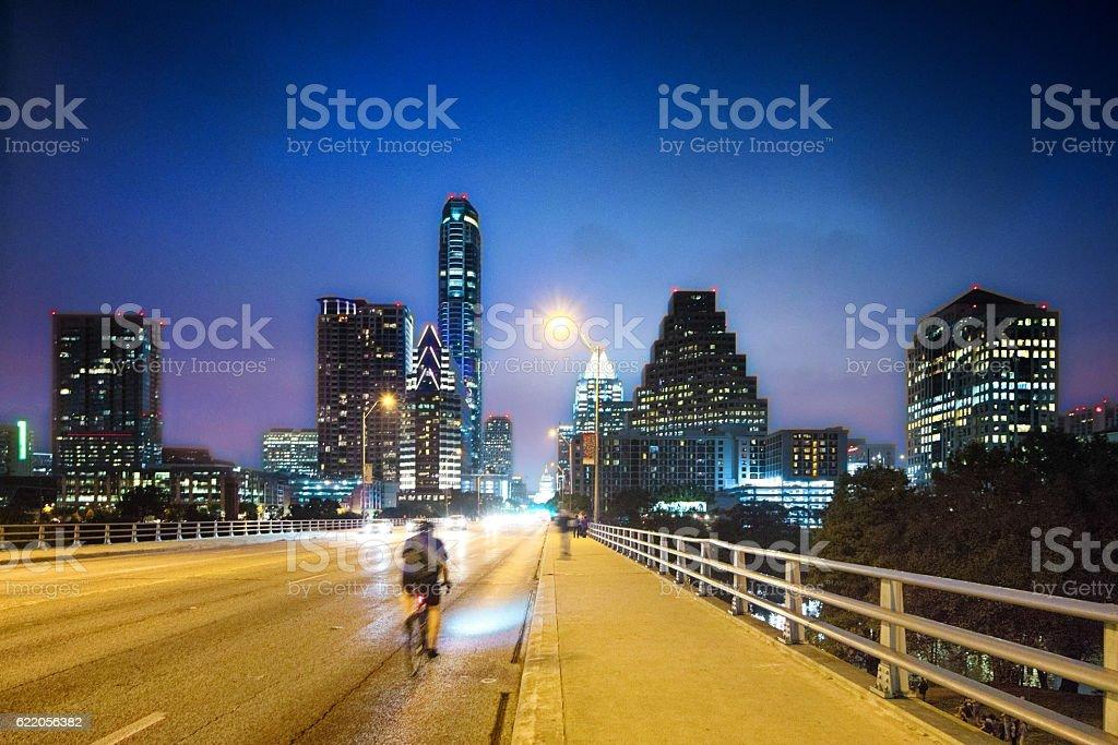 Austin panorama at night on Congess avenue bridge stock photo