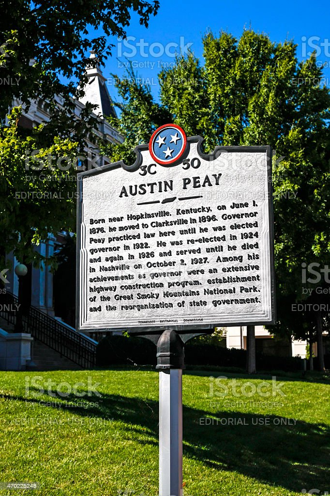 Austin Peay historical plaque in Clarksville TN stock photo
