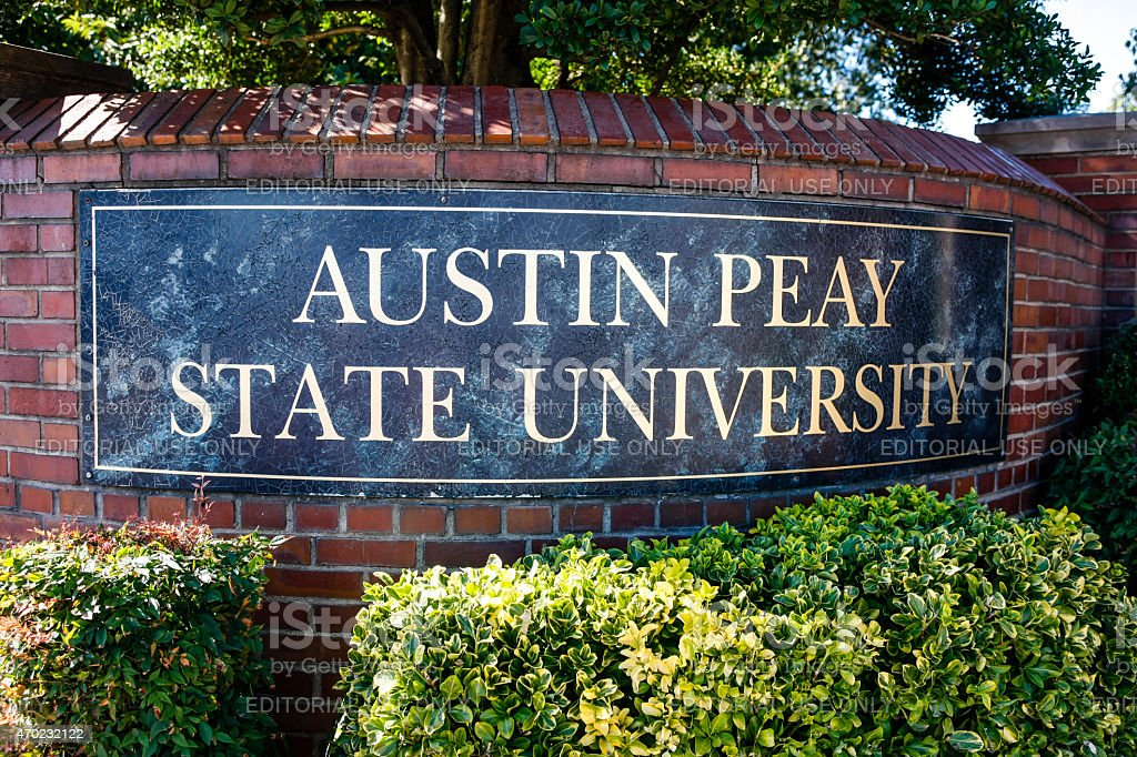 Austin Peay State University Entrance Sign stock photo