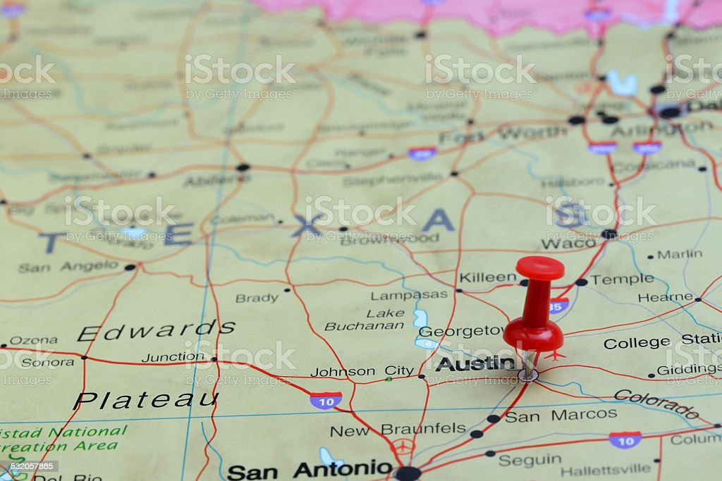 Austin pinned on a map of USA stock photo