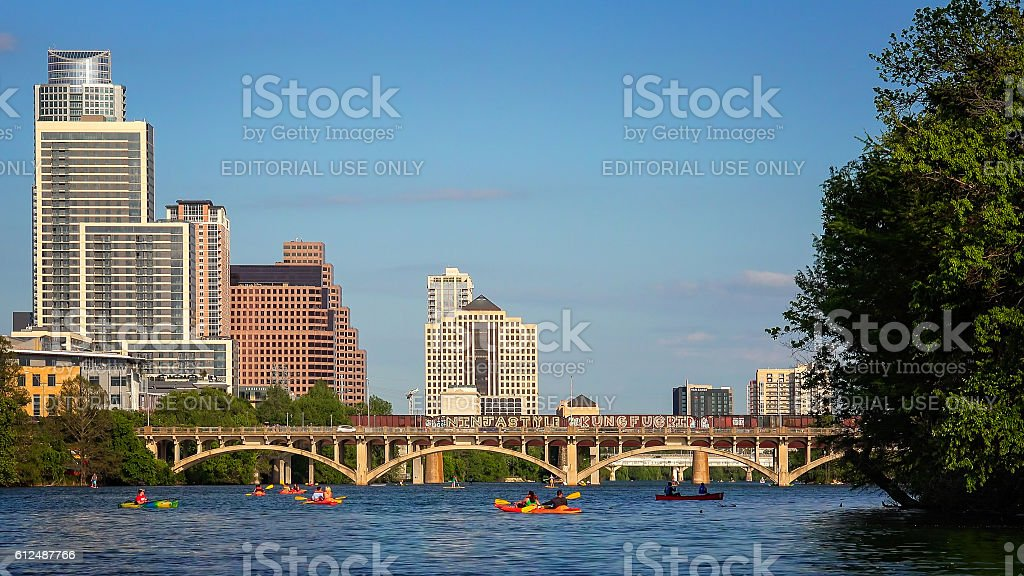 Austin Skyline and Kayaking on Colorado River in Texas stock photo
