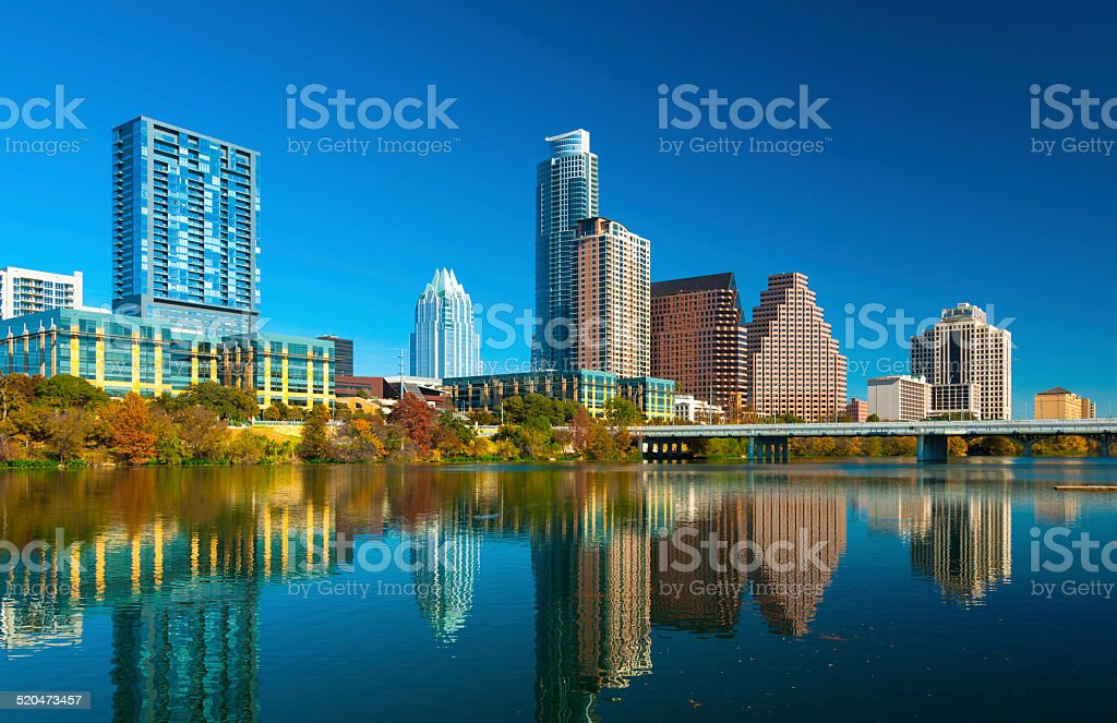 Austin skyline and Lady Bird Lake during Autumn stock photo