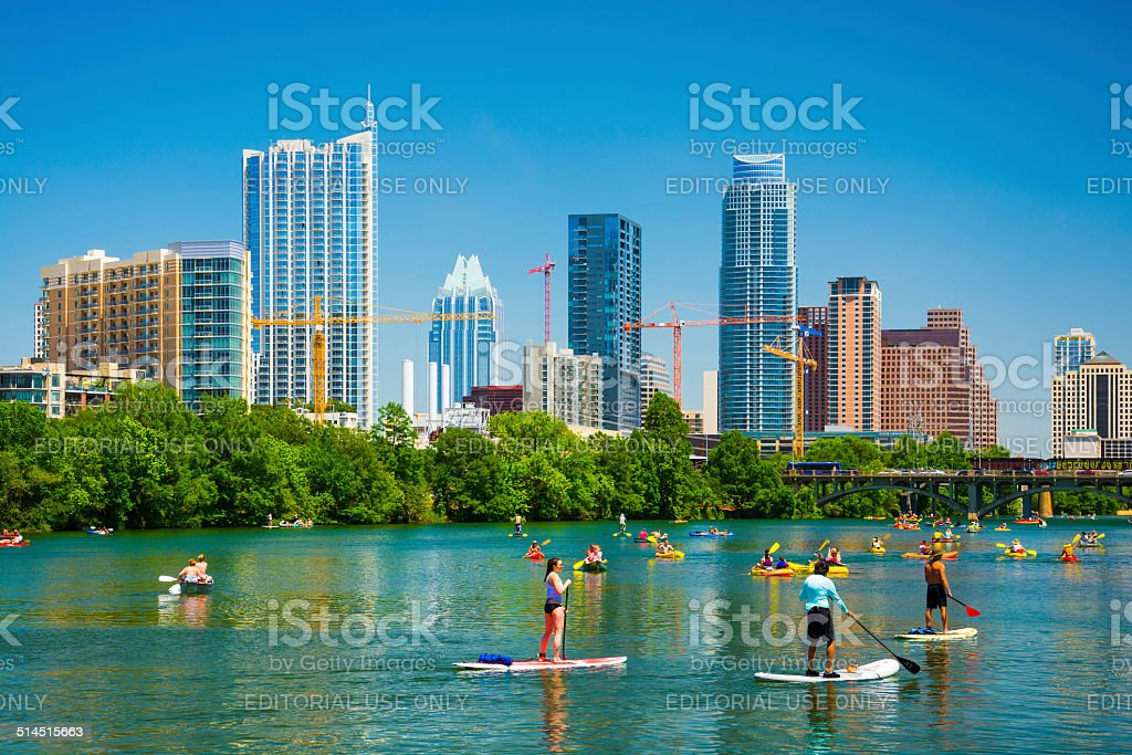 Austin skyline and people having fun stock photo