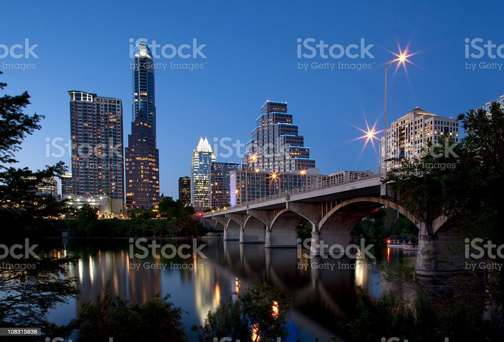 Austin Skyline At Dusk stock photo