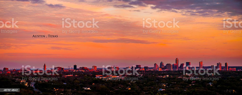 Austin Skyline Mount Bonnell Panoramic stock photo