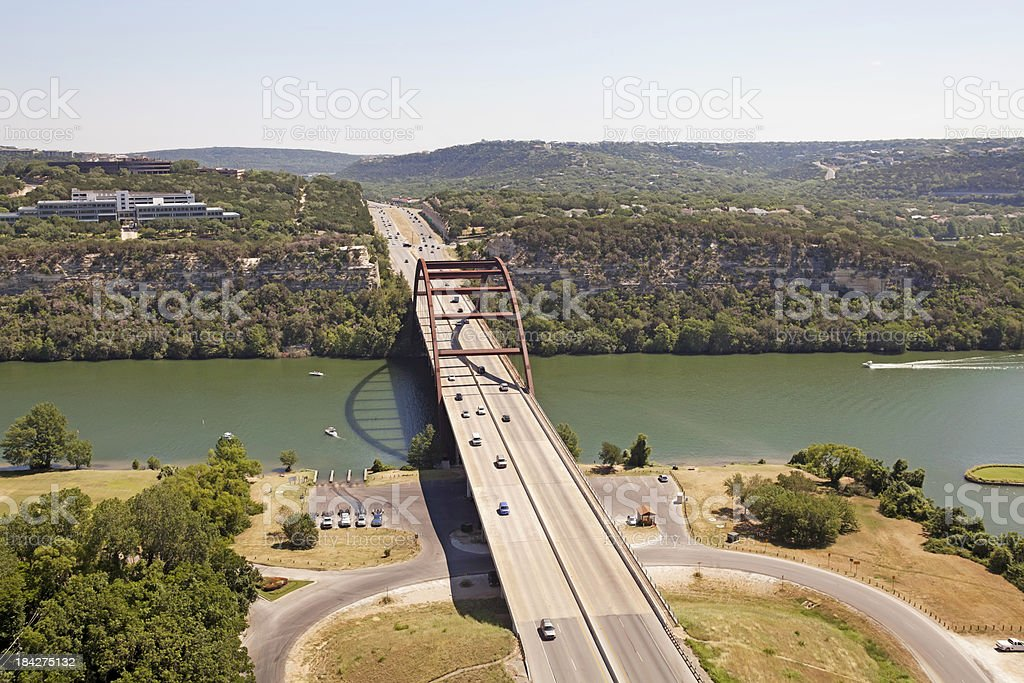 Austin Texas 360 Bridge and highway  Aerial stock photo