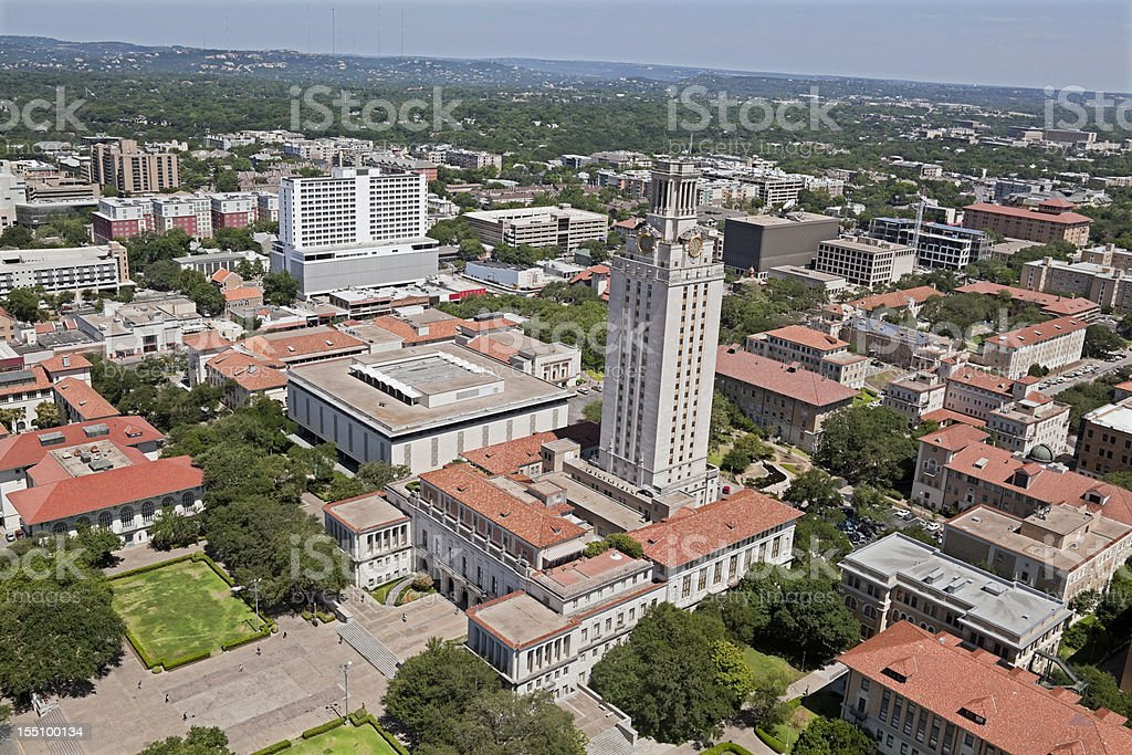 Austin Texas aerial showing campus University clock tower stock photo