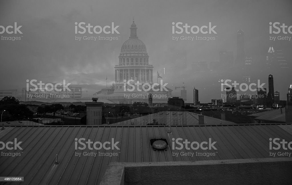 Austin Texas Capital Cities Skyline Dissolve Technique stock photo