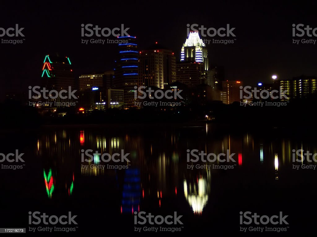 Austin Texas City Nighttime Skyline with Reflections on Town Lak stock photo