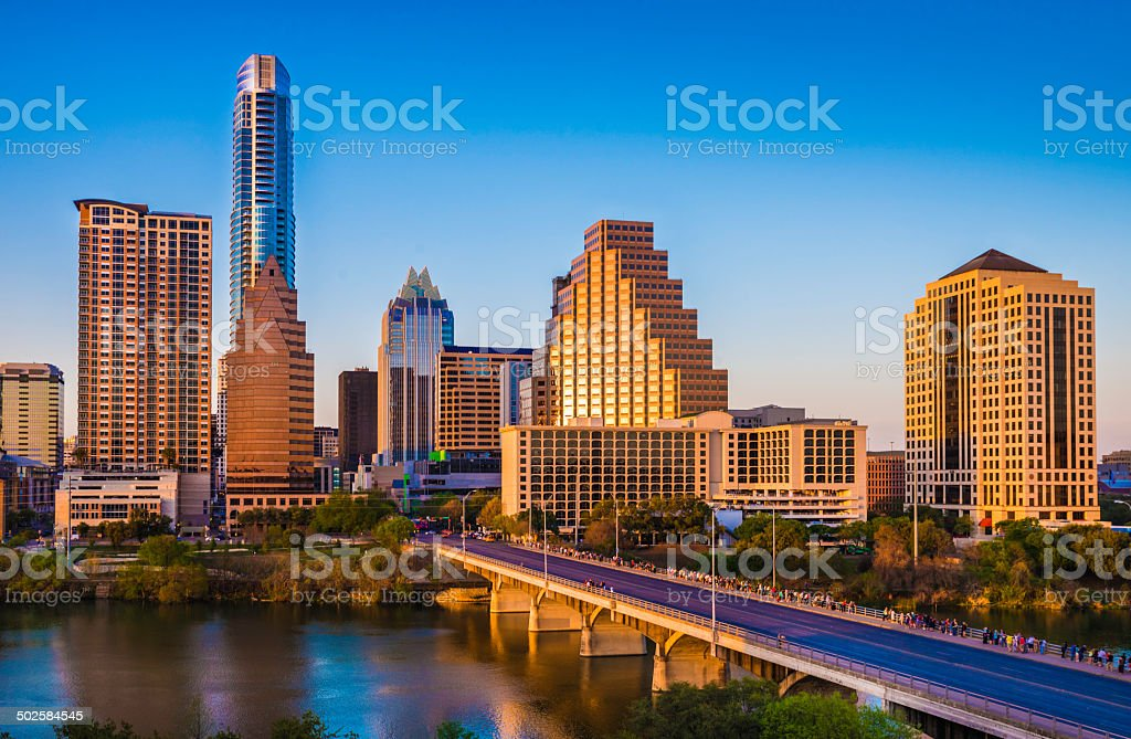 Austin Texas cityscape skyline panorama, Congress Avenue Bridge, late afternoon stock photo