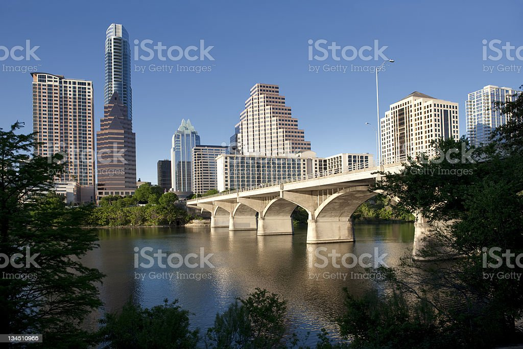 Austin, Texas Congress Avenue Bridge stock photo