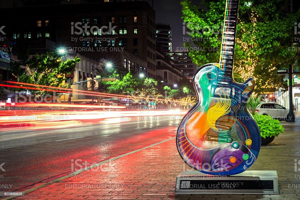 Austin Texas Congress Avenue Panoramic View at Night stock photo