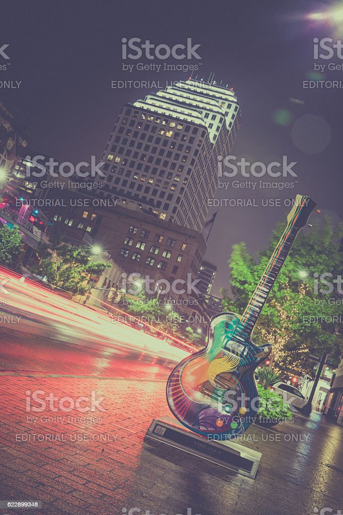Austin Texas Congress Avenue Panoramic View at Night stock photo