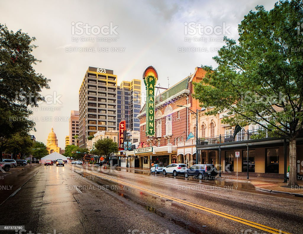 Austin Texas congress street after rain stock photo