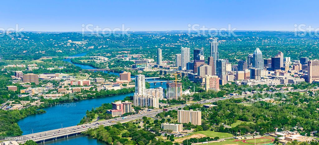 Austin Texas downtown panoramic cityscape skyline aerial view stock photo