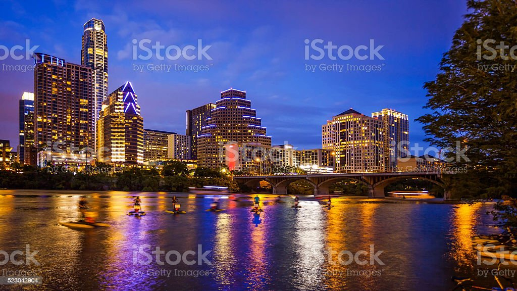 Austin, Texas Downtown Skyline at Night stock photo