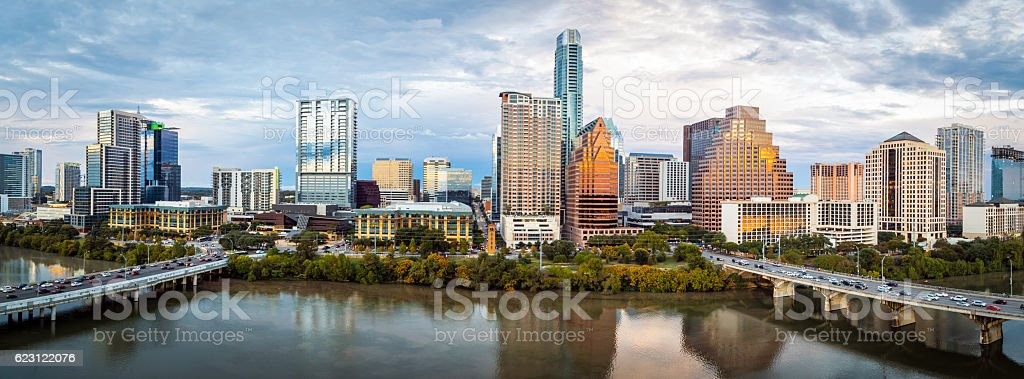 Austin Texas Downtown Skyscrapers Skyline Panorama Cityscape at Sunset stock photo