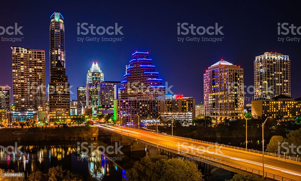 Austin Texas evening excitement cityscape, skyline, skyscrapers, Congress Avenue Bridge stock photo