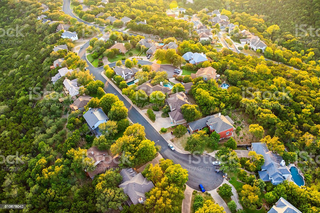 Austin Texas hill country, suburban countryside homes, aerial view stock photo
