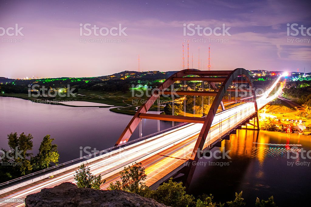 Austin Texas Landmark Pennybacker Bridge 360 Bridge At Night stock photo