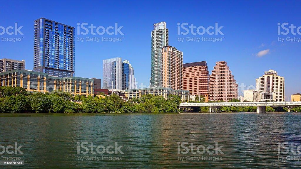 Austin, Texas Skyline and Colorado River stock photo