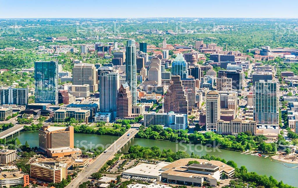 Austin Texas skyline cityscape aerial view stock photo