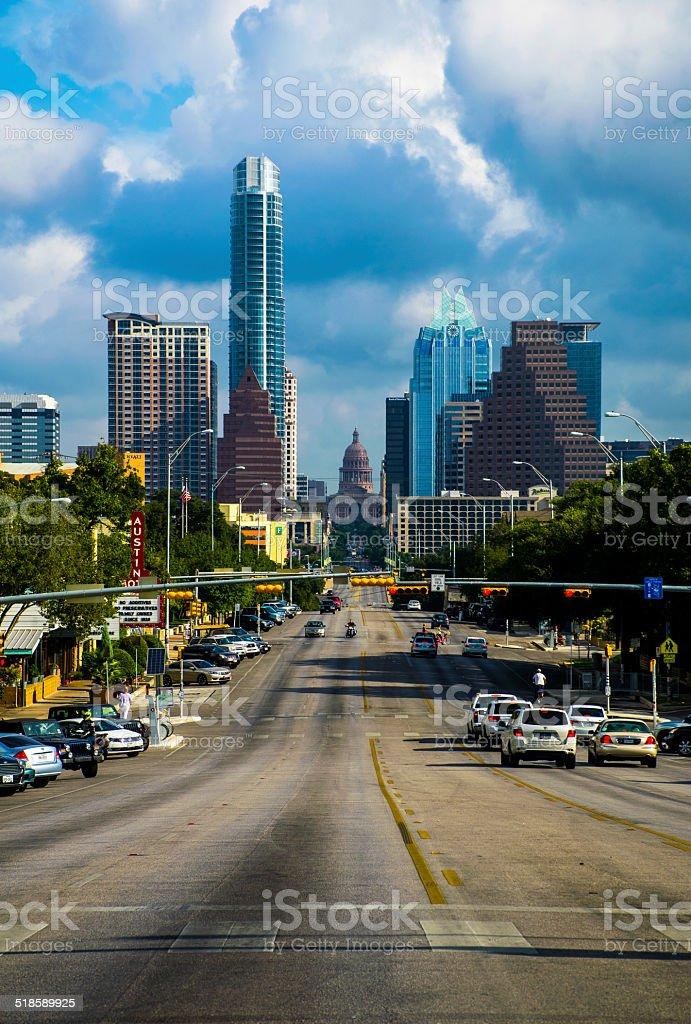 Austin, Texas Skyline from South Congress Avenue Cityscape stock photo