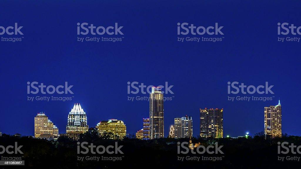 Austin Texas skyline panorama cityscape at twilight night royalty-free stock photo