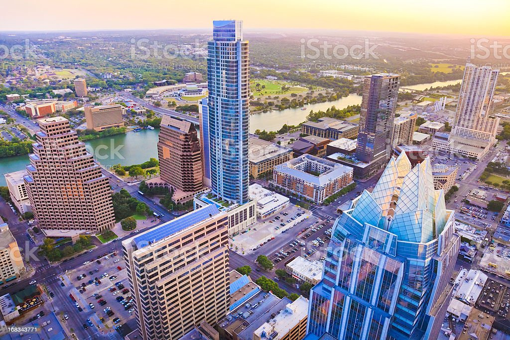 Austin Texas skyscrapers skyline aerial at sunset from helicopter stock photo