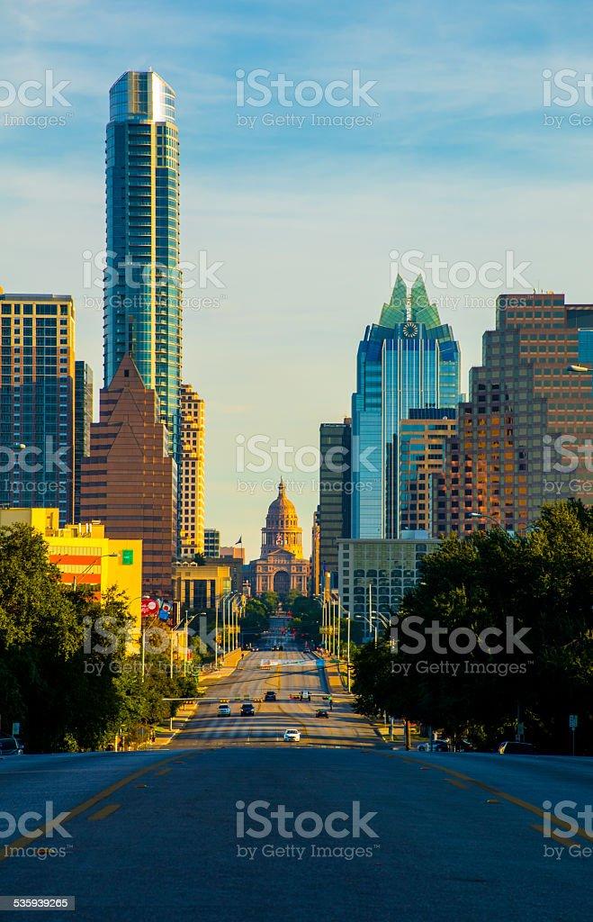 Austin Texas South Congress Avenue View Capitol Building stock photo
