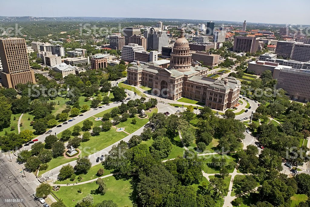 Austin Texas State Capitol Aerial and city royalty-free stock photo