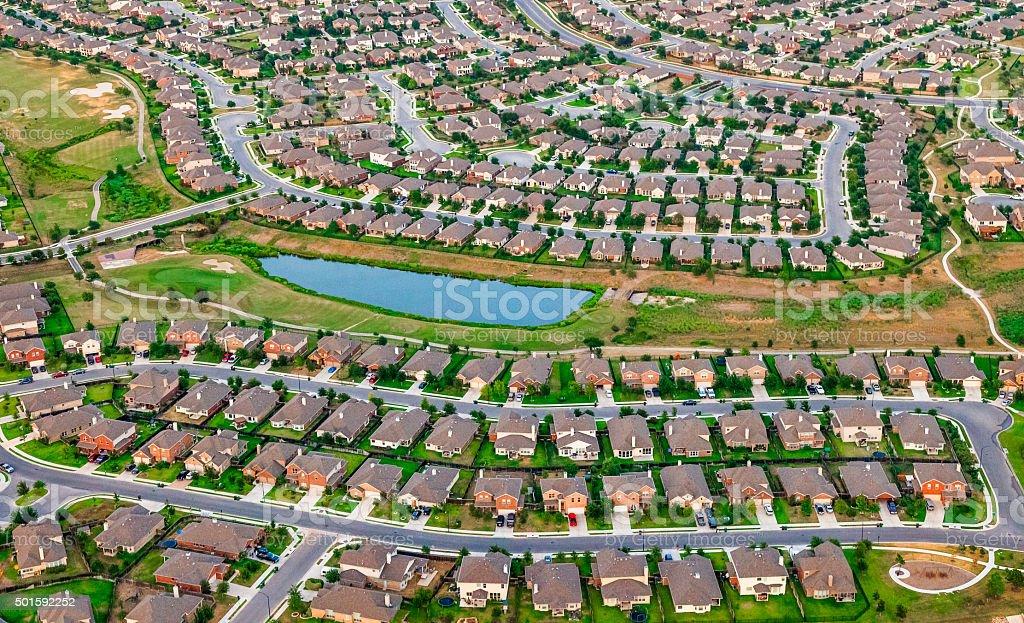 Austin Texas suburbs, housing, green belt, bike path, aerial view stock photo