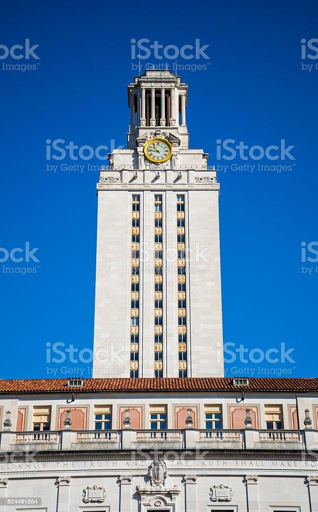 Austin Texas UT Tower shot blue sky background Vertical stock photo
