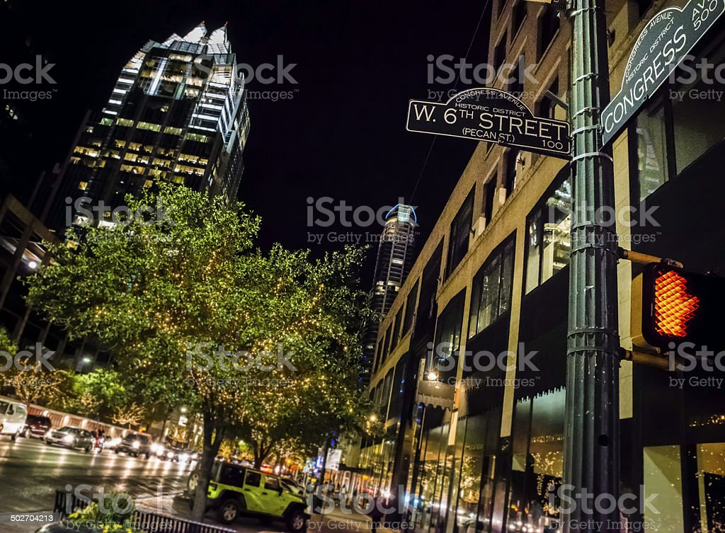 Austin TX downtown night life, 6th congress street sign intersection royalty-free stock photo