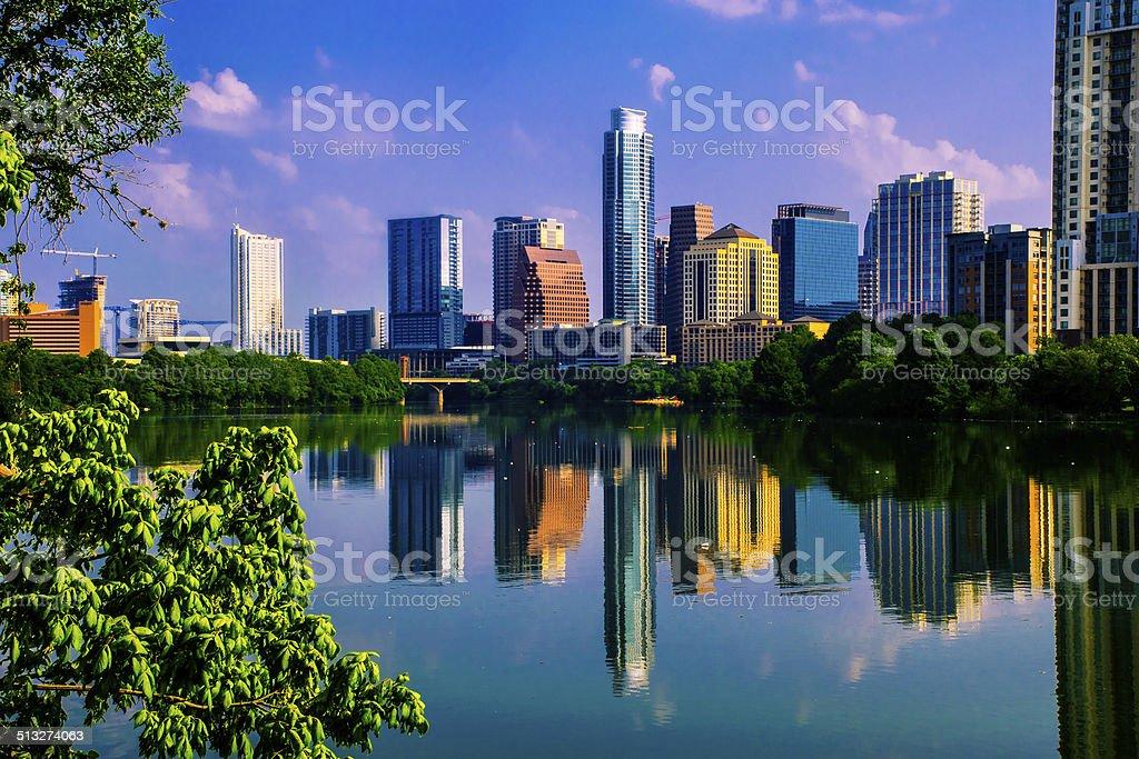 Austin, TX Green Paradise on the reflection of the Lake stock photo