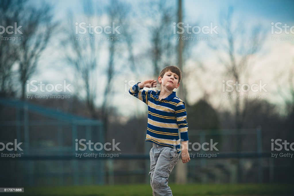 Austistic Boy Pretending stock photo