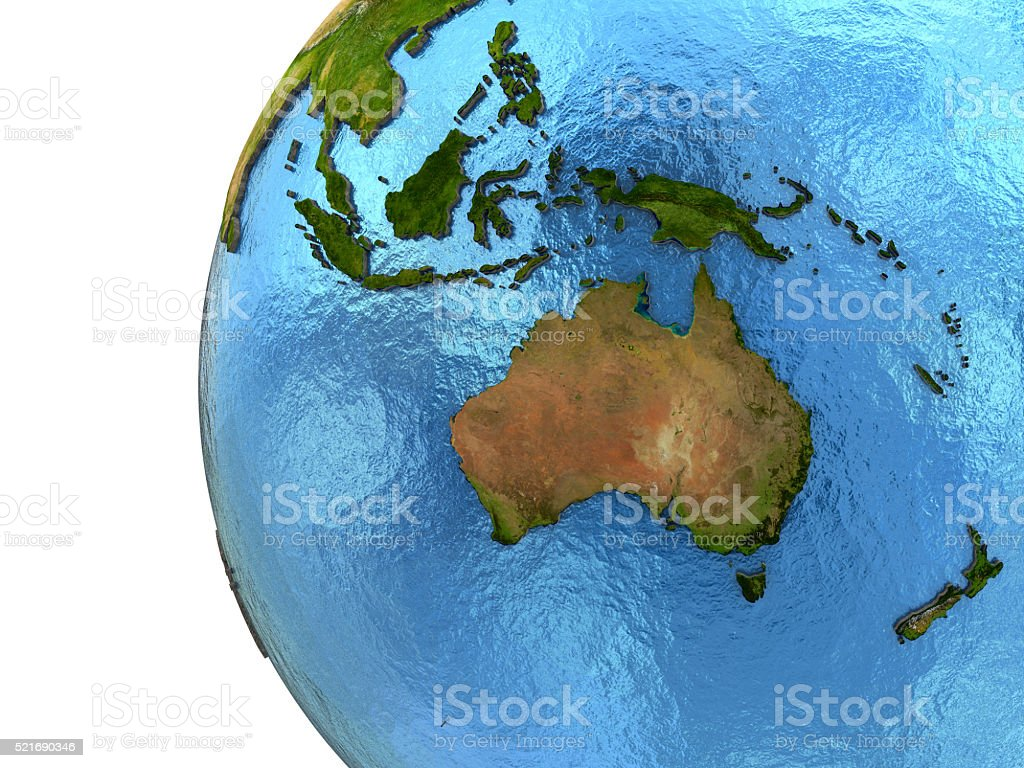 Australasian continent on Earth stock photo