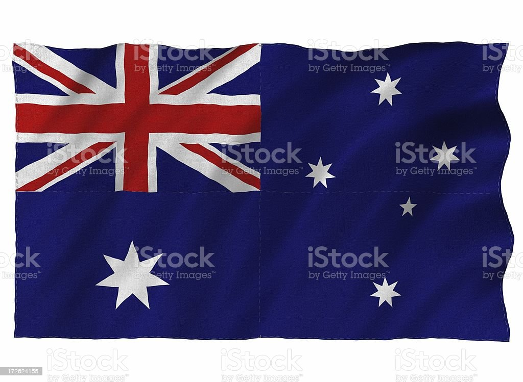 Australia 3D flag on white royalty-free stock photo