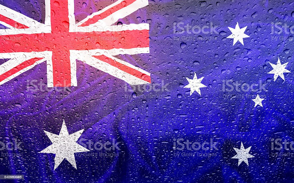 Australia and australian flag with drops stock photo