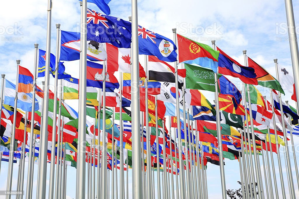 Australia and national flags stock photo