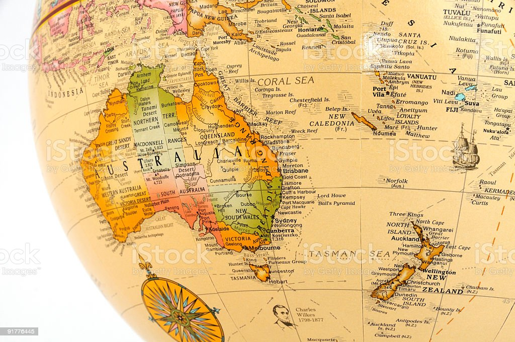 Australia and New Zealand on Globe stock photo