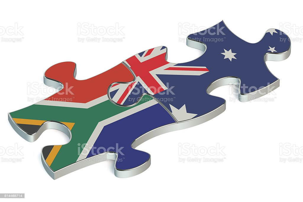 Australia and South Africa puzzles from flags stock photo