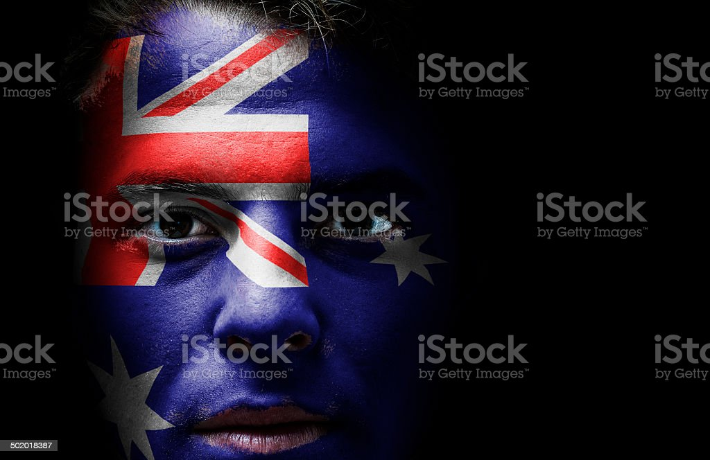 Australia, Australian flag on face stock photo