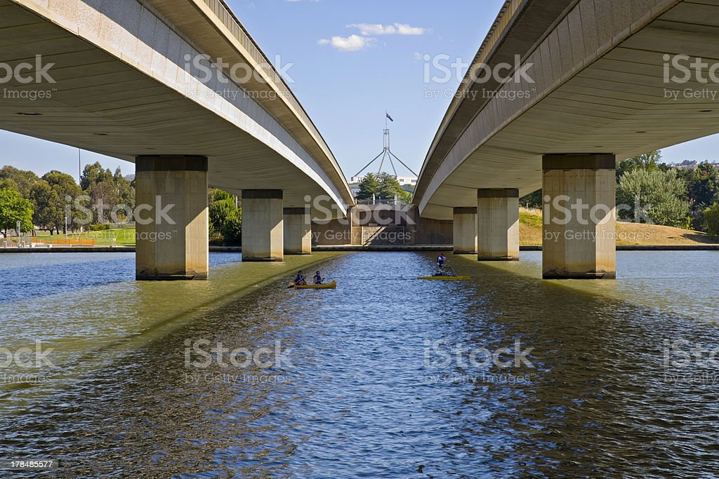 Australia Canberra Commonwealth Avenue Bridge and Parliament House stock photo