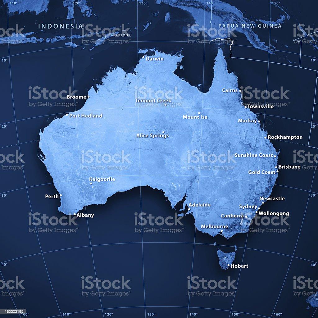 Australia Cities Topographic Map stock photo