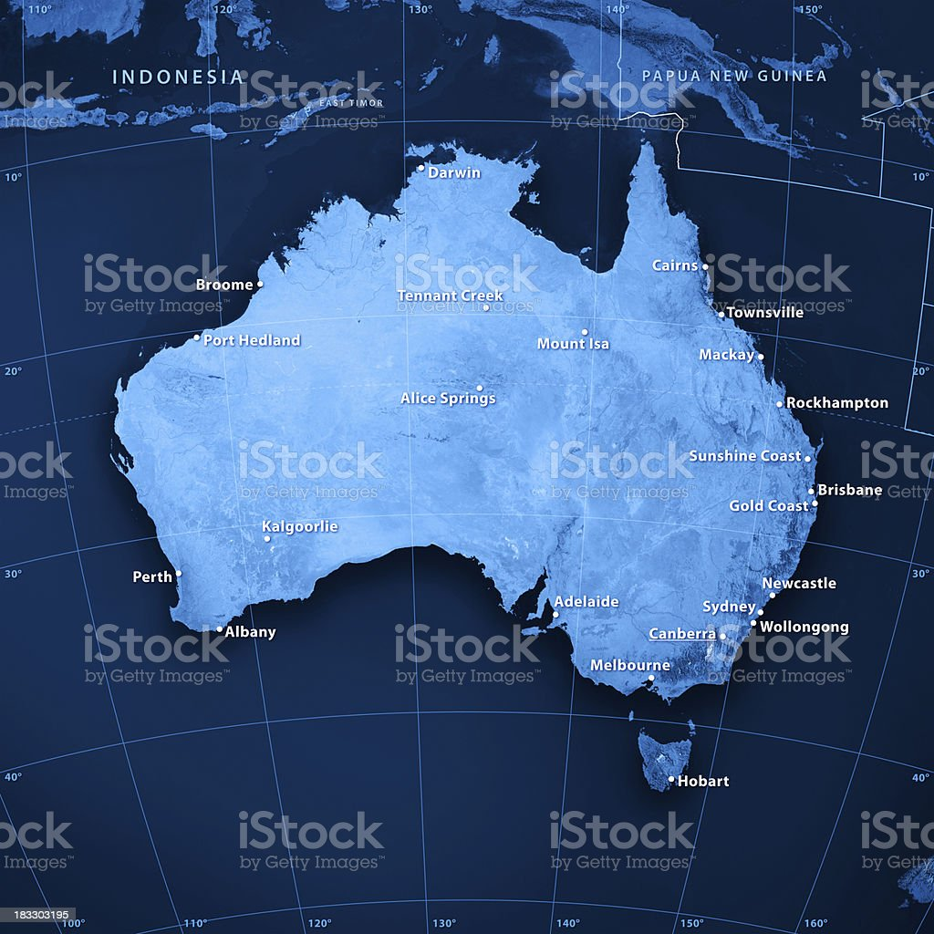 Australia Cities Topographic Map stock photo