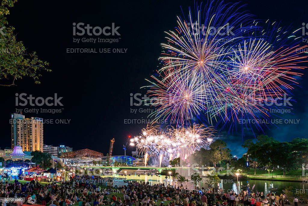 Australia Day fireworks stock photo